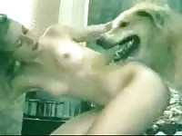 Assertive never before seen coed whore gets nailed nicely by K9 in this home bestiality movie
