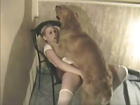 Teen schoolgirl getting her tight fuck hole rammed by an endowed dog in this zoo sex flick