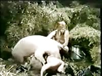 Glorious homemade bestiality video featuring older whores screwed good by a giant pig
