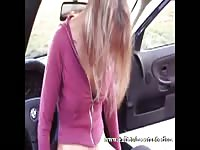 Skinny and very frisky teenage cutie in sexy nylons enjoying and object insertion in the car