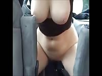 Bodacious all natural whore exposes her tits and cunt then proceeds to take insertion in the car