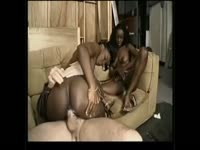 Lucky white dude enjoying the fuck session of his life thanks to two ebony newcomers