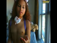 Never seen before teen ebony cutie removes her bra and panties on camera for the first time