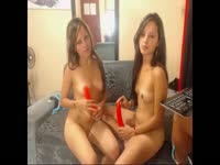Slutty eighteen year old twin sisters explore and probe each other in this naughty threesome