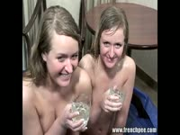 Slutty and playful eighteen year old twin sisters get finger banged and drink piss in this flick