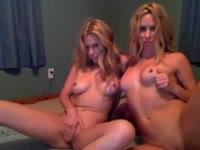 Striking blonde college-aged all natural twin sisters exposing themselves and more on cam