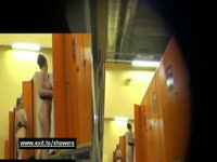 Naughty voyeur cam addict hides camera in locker room and captures barely legal teen naked